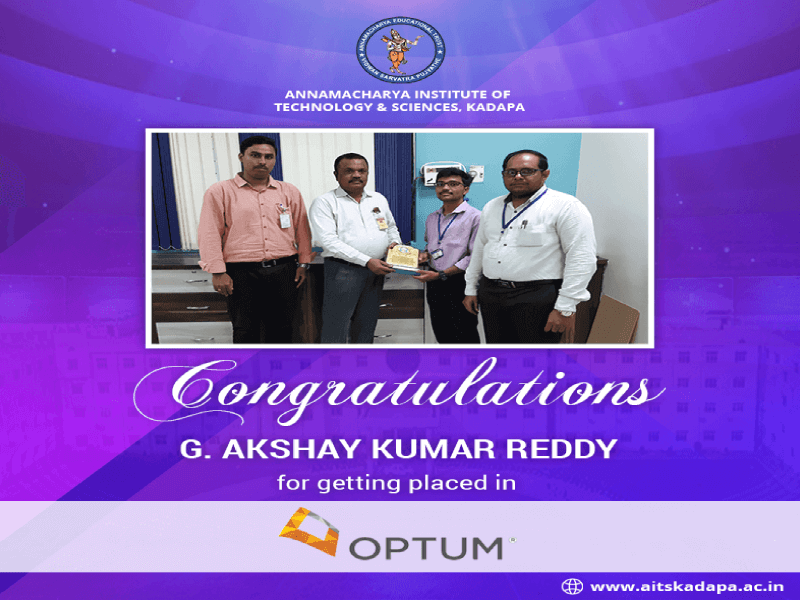 AITS, Kadapa Student Get Placed in Optum